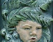 Fiddlehead Fern Cherub Clay Relief Sculpture, Garden Art, Fern Sculpture, Cherub Sculpture