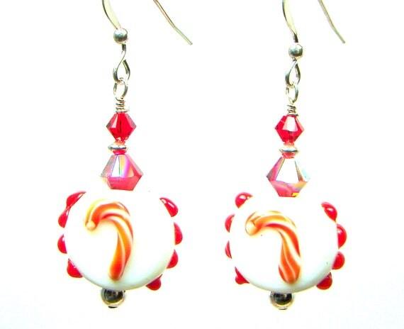 Red Earrings, Lampwork Earrings, Holiday Earrings, Crystal Earrings, Candy Cane Earrings, Red White Earrings