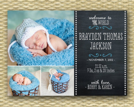Chalkboard Birth Announcement Baby Announcement Baby Boy Birth – Etsy Baby Announcements