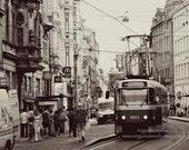 Prague Tram photo, Romantic, Czech Republic, 8x10 art print, Streetcar, European, Transport, Holiday Gift, Wall decor, under 50