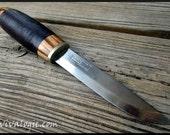 Zebrawood and Leather Scandinavian Knife