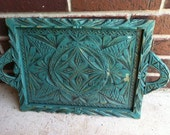 Turquoise, Vintage, Hand carved wooden tray