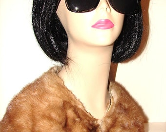 CO-21 Vintage genuine Brown Mink fur Collar from fur coat