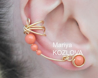 Right Ear Cuff Earrings Coral Wings - gold craft wire, Swarovski crystal pearls