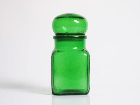 Vintage Green Glass Apothecary Jar / Bottle