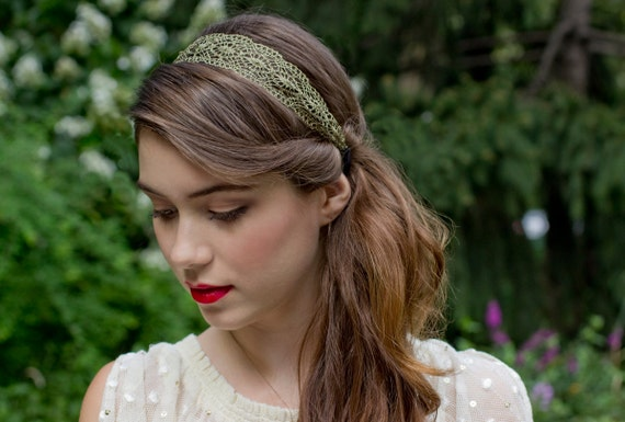 Burnished Gold Metallic Lace Headband Fall Vintage Delicate
