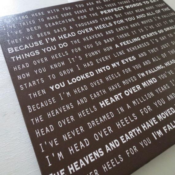 Song Lyrics on canvas, wedding vows, nursery rhymes,  Custom Canvas Word Art, typography
