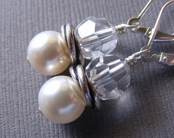 White Pearl and Clear Swarosvki Crystal Earrings on Sterling Silver Leverbacks with Twisted Silver Spacer. Classic. Bridal.