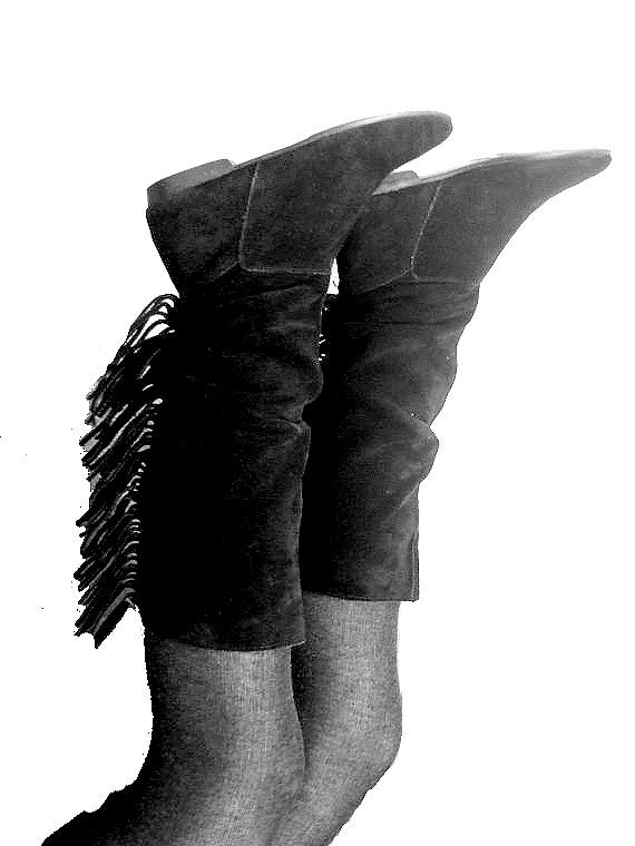 eighties fringe boots black suede  terrific