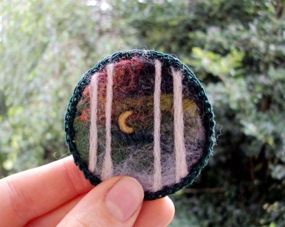 Felt brooch, green forest, wearable art, needle felted wool badge