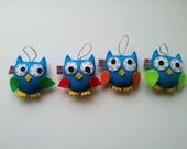 Owl Ornament, Felt, Christmas Home Decoration, SET of 4, Eco Friendly