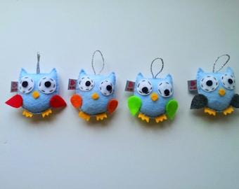 Felt Owl Christmas Ornament, MADE TO ORDER, Set of 4, Eco Friendly