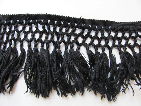 Black Cotton Fringe Trim Yardage Sewing Pillow Tassle - 5 feet total