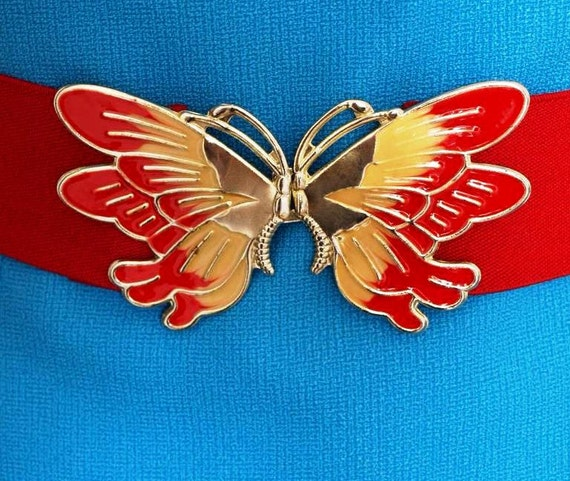 Vintage butterfly belt. Enamel buckle, elastic cinch belt. 1970s / 1980s.