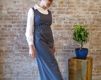 Vintage 1970's Navy Polka Dot Dress