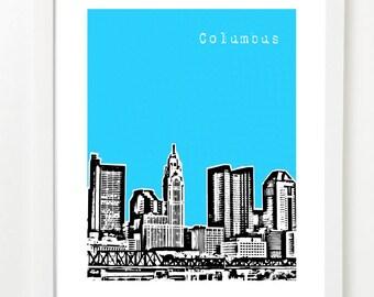 Columbus Art Print  - Clolumbus City Skyline Poster - Columbus Ohio - VERSION 1