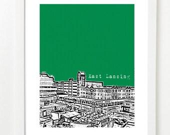 East Lansing Art Print - East Lansing Poster - East Lansing Michigan Skyline - East Lansing Graduation Gift