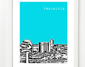 Pensacola Skyline Art Print - Pensacola Poster - Pensacola Florida State Love - Pensacola Beach