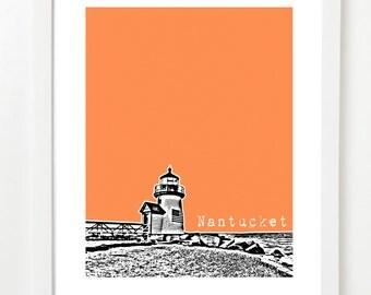 Nantucket Art Poster  - Nantucket City Skyline Print - Nantucket Massachusetts