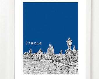 Prague Poster - Czech Republic City Skyline Print - Charles Bridge - VERSION 2