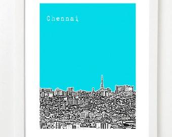 Chennai Skyline Print - India City Skyline Art Print - Chennai Poster - Tamil Nadu