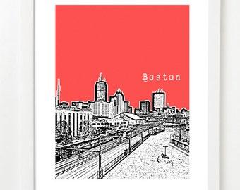 Boston Skyline Poster - Fenway District City Art Print - Prudential Center