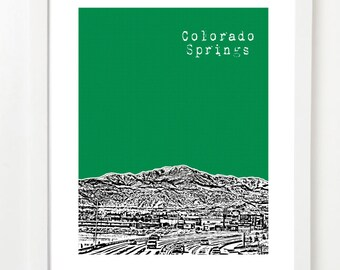 Colorado Springs Skyline - Colorado Springs City Art Print - Pike's Peak -