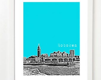 Hoboken Skyline Poster - Hoboken New Jersey City Art Print - Hoboken Wedding Gift