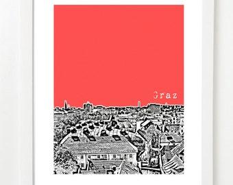 Graz, Austria Poster - Skyline Art Print - Kunsthaus -