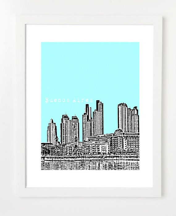 Buenos Aires Skyline Art Print - Argentina Travel Poster - VERSION 1