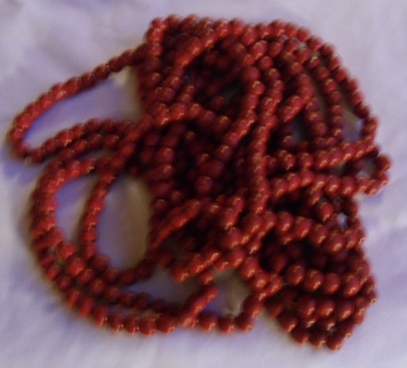 """Reserved for J - 3 Vintage Red Wooden Bead Garland 108"""" Long or Craft Beads"""