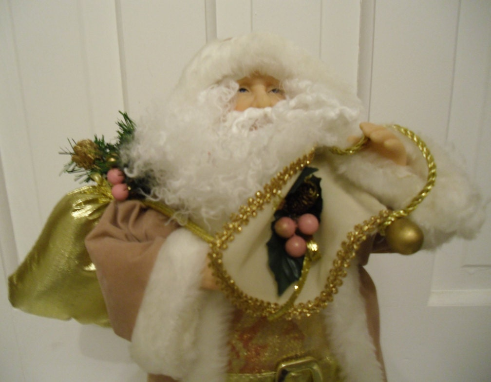 Vintage Father Christmas Tree Topper / Santa In Faux Suede And