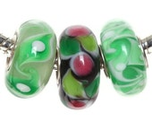 3pc Set, Sterling Silver and Glass Lampwork Beads fit European Bracelets