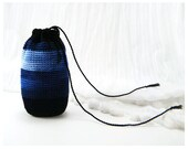 Crocheted Purse - Small Cotton Drawstring Bag Pouch - Gift, Cellphone, Makeup - Black, Blue, Variegated, Striped