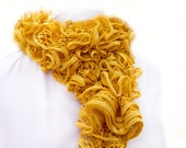 Mustard yellow scarve scarf.  Knitwear accessories hand knitted ruffle scarf. Fall fashion