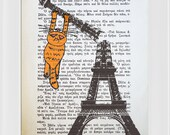 Vintage Book Art Print -Orange Cat on Eiffel Tower - Book Page Print - Mixed Media Art -Altered art Upcycled Book page -  8.0 x 5.5 in (A5)
