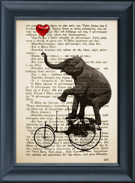Buy 3 get 1 more for free, Elephant with Heart Balloon, Vintage Book Page Print - Elephant Print - Original Design - Home Decor - 8.0x5.5in