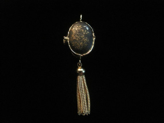 Black Locket Watch Oval Pendant Rose Tassel Vintage Gold Tone Charm