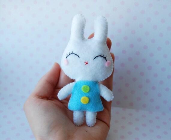 Cute felt plush tiny white soft bunny doll