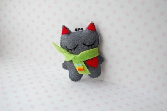 back to school cute keychain, bag decor  grey  kitten felt plushie with a scarf