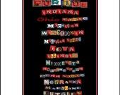 The 14 Universities of the Big Ten in Neon