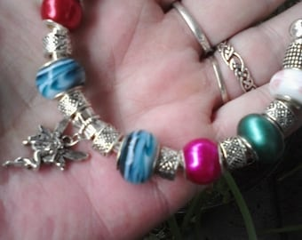 Fairy land, pearl, lamp work and more, Euro style bracelet