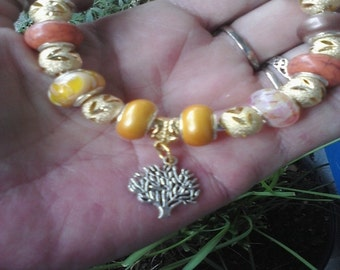 Pagan Wiccan, Tree of life, with shining gold, Euro style bracelet