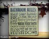 Bathroom Decor, Wooden Bathroom Sign, Typography Sign, Bathroom Rules, Gift for Mom, Housewarming gift
