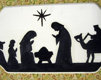 Items Similar To 7 Quot X24 Quot Solid Wood Nativity Silhouette