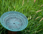 Upcycled Shabby Chic Distressed Turquoise Plaited Wicker Basket Bowl
