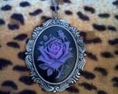 Ornate Purple Rose Cameo Necklace