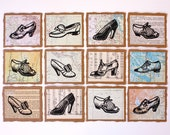1950s Shoe Collection Linoprint Fancy Edged Note Cards - Pack of 4