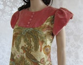 60's -70S Mod Dress// Vintage 60's Floral Bird Motif Dress//