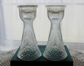 Vintage Pair Fostoria Hearts and Diamonds Reversible Glass Candle Holders / Vases AVON 1979